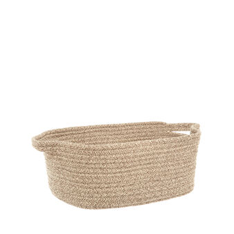 Rectangular rope basket with handles