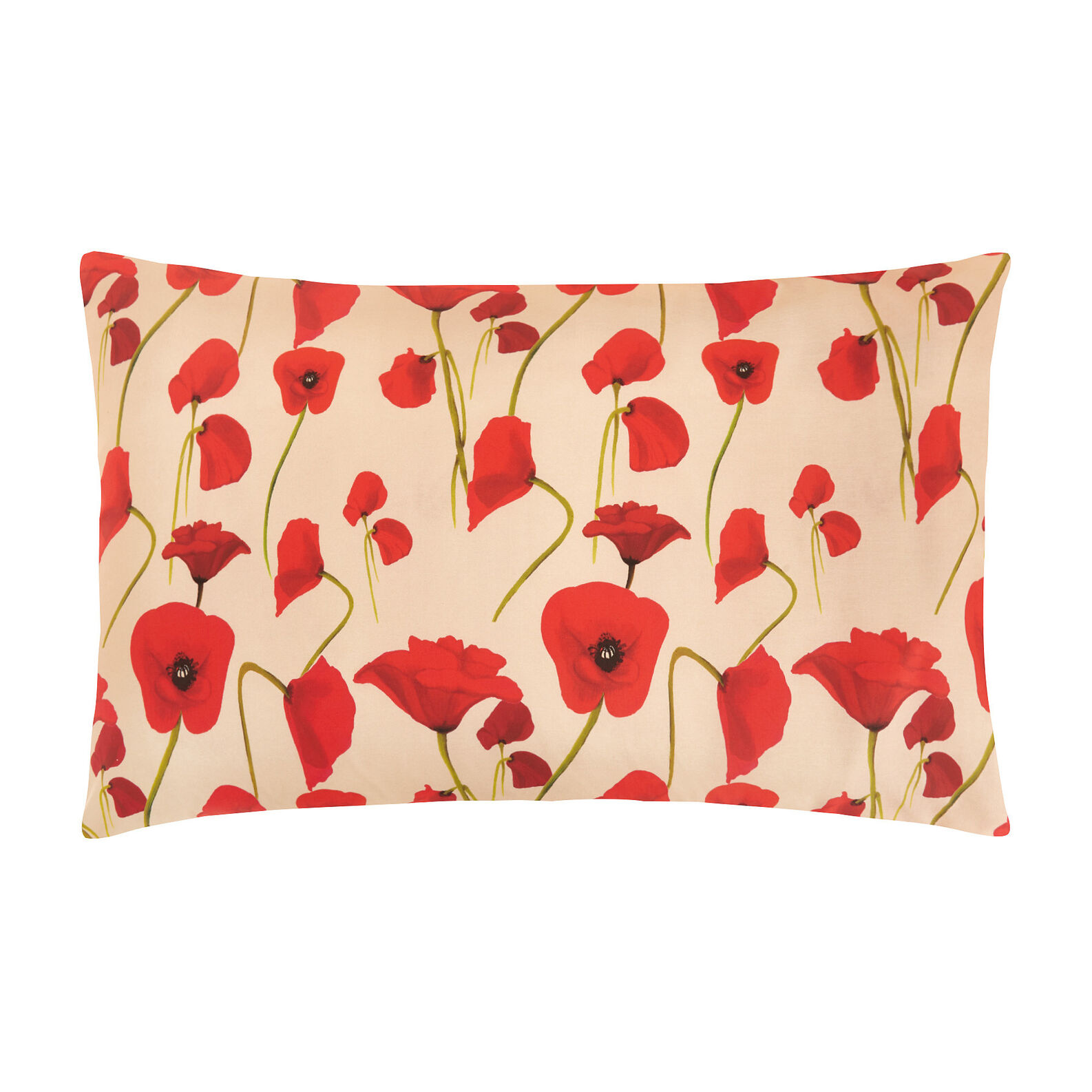 Cotton percale pillowcase with poppy pattern