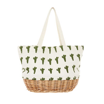 Canvas and wicker bag with cactus print