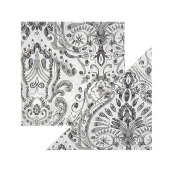 Set of 2 napkins in cotton twill with ornamental motif