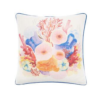 Recycled fabric cushion with marine print 45x45cm