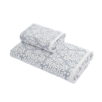 100% cotton towel with velvet flowers
