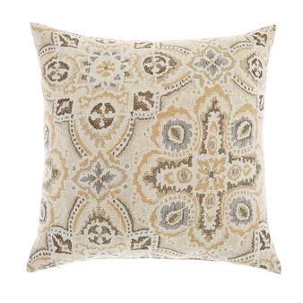 Linen blend majolica jacquard cushion