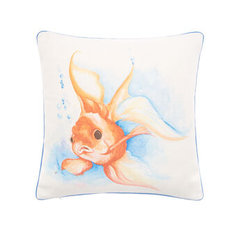 Recycled fabric cushion with fish print 45x45cm