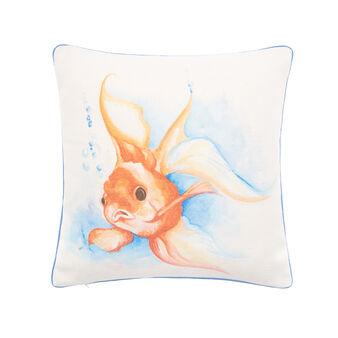 Cuscino tessuto riciclato stampa pesci 45x45cm