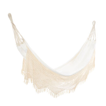 Macramé edge cotton hammock