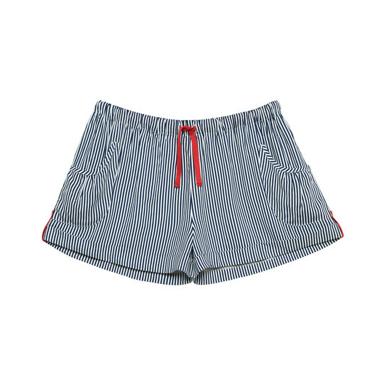 Striped print viscose shorts.