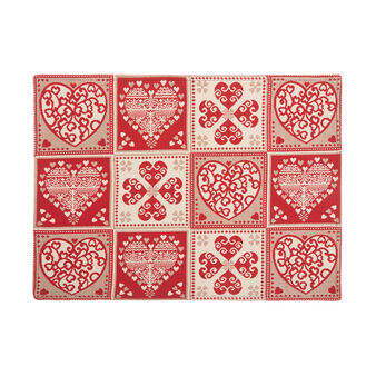 Gobelin table mat with four-leaf clover motif