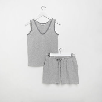 Solid colour cotton jersey pyjamas