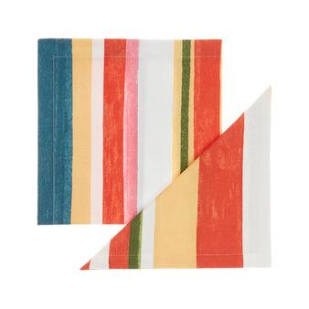 Set 2 tovaglioli puro cotone a righe colorate