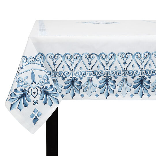 Cotton twill tablecloth with ornamental print