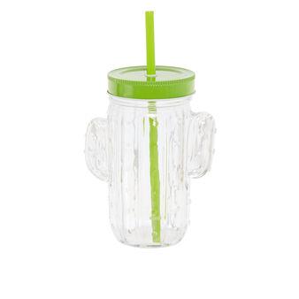 Glass mug with drinking straw