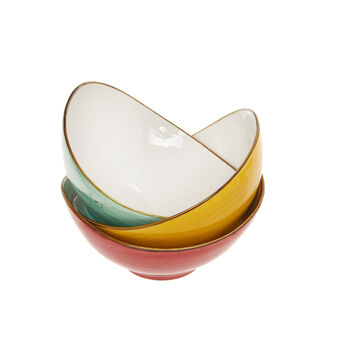 Oval bowl in coloured porcelain