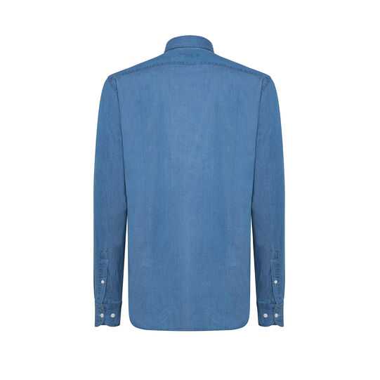Tailored-fit denim shirt with cutaway collar
