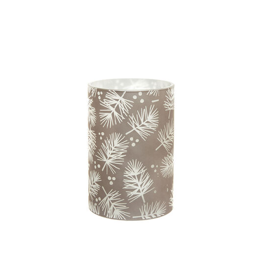 LED candle with leaves decoration