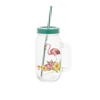 Glass mug with drinking straw and flamingo decoration