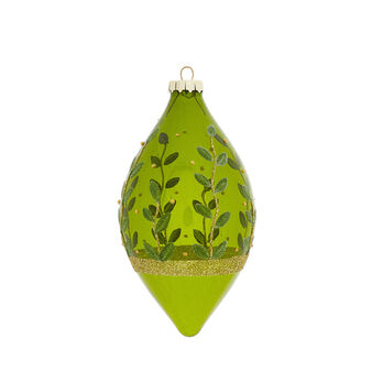 Hand-decorated spindle with leaves decoration