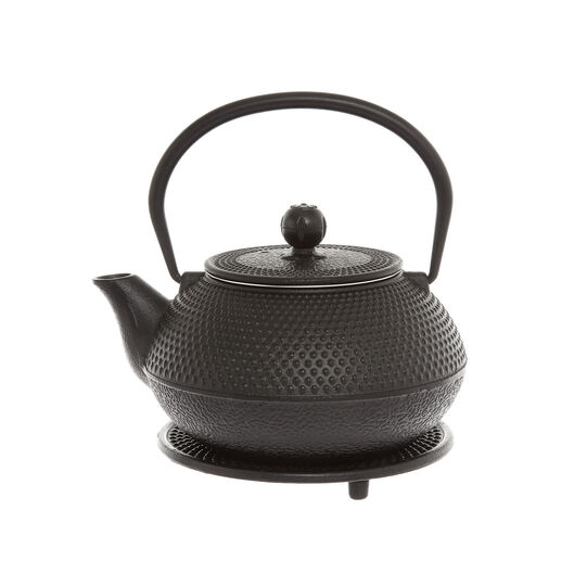 Decorated cast iron teapot