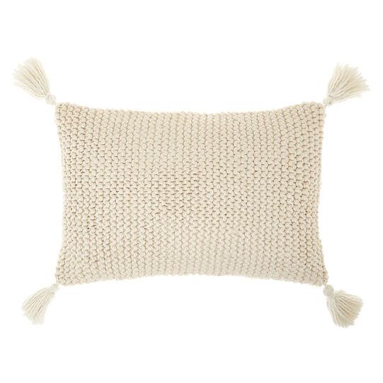 Cuscino in maglia con pompon