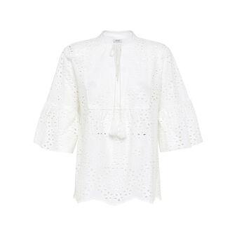 Camicia in sangallo di cotone tinta unita