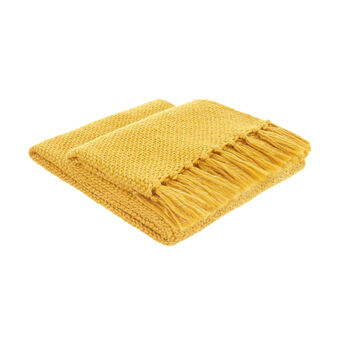 Woven throw with fringes