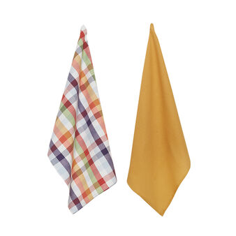 2-pack check tea cloths in 100% cotton