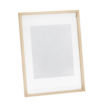 Photo frame with clear glass and wood