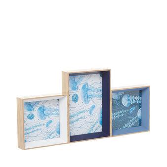 Set 3 portafoto cornice in legno