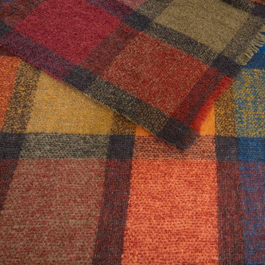 Wool blend bouclé check throw