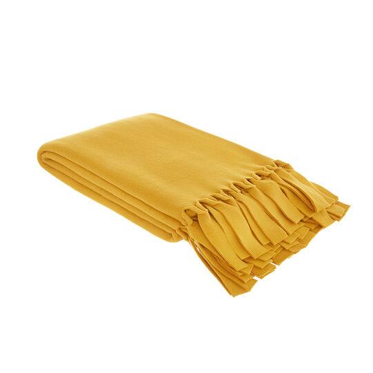 Fleece throw with fringe