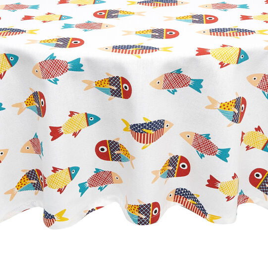 Round 100% cotton tablecloth with fish print