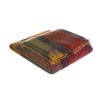 Wool blend bouclé check throw