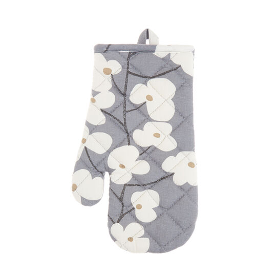Oven mitt in cotton with flowers print