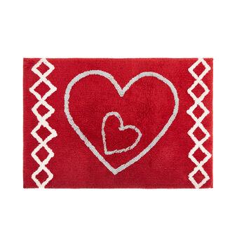 Tappeto bagno cotone motivo cuore