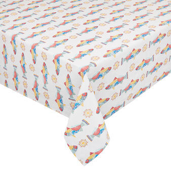 Water-repellent 100% cotton tablecloth with Mexican fish print