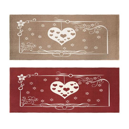 Cotton blend kitchen mat with heart print.