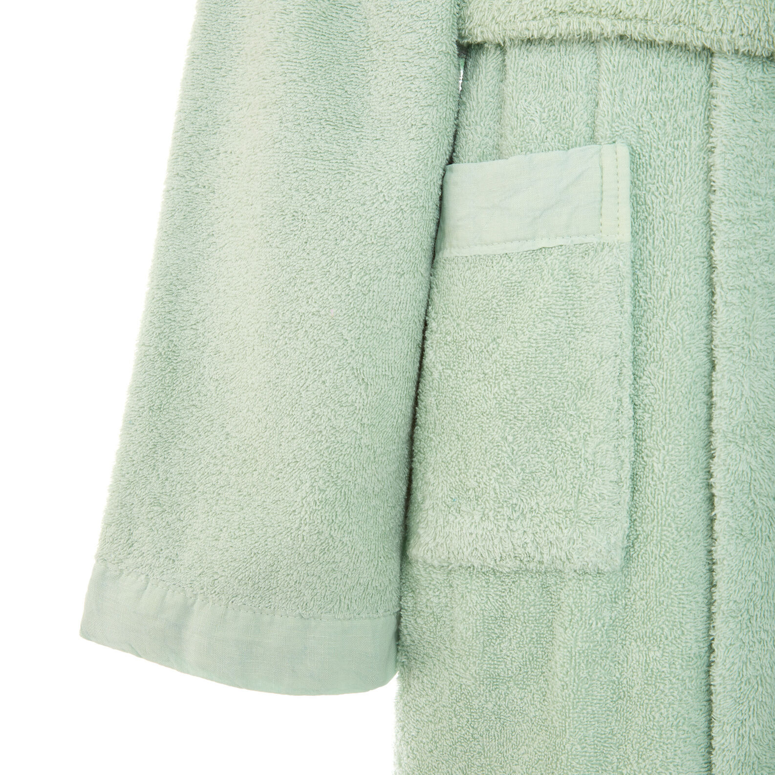 Bathrobe in 100% organic cotton with linen trim
