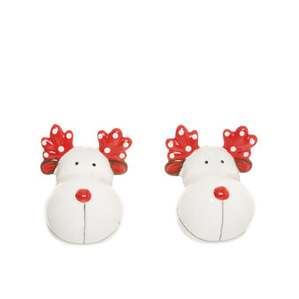 Rudolph salt and pepper set in ceramic