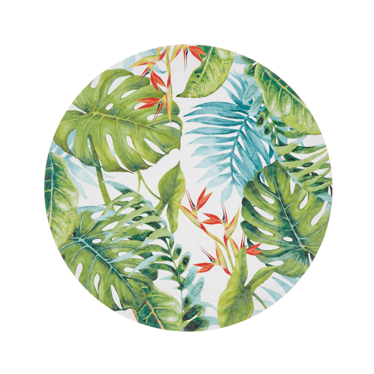 Melamine serving dish with tropical leaves