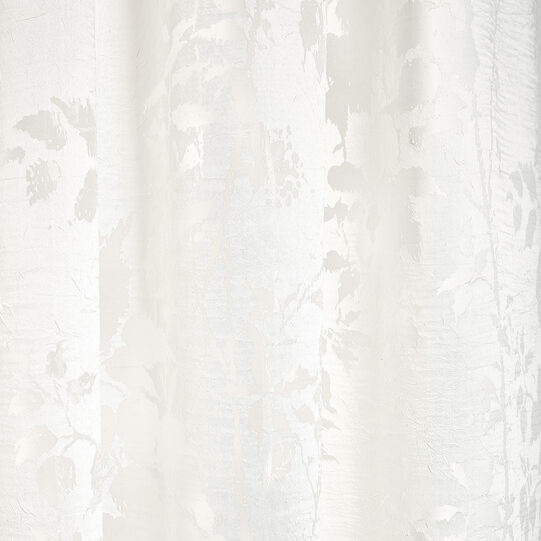 Viscose blend devore curtain with concealed loops