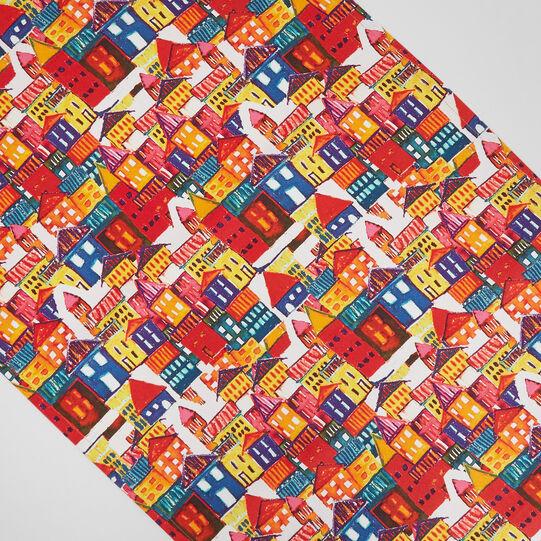 Runner twill di cotone stampa casette