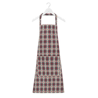 Apron in 100% cotton with tartan and hearts motif