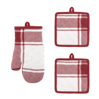 Set of 2 pot holders and oven mitt in check 100% cotton