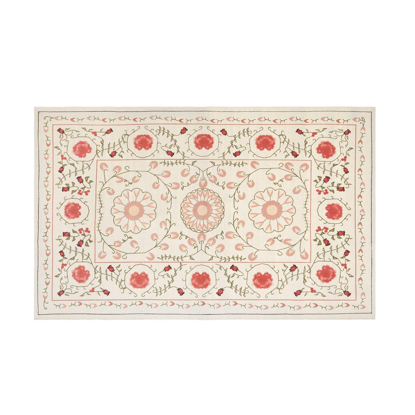 Cotton mat with floral motif print