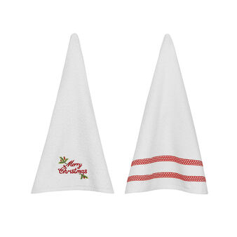 2-Pack Merry Xmas tea towels in cotton terry