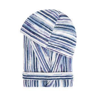 Striped cotton terry bathrobe