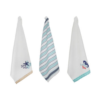 Set of 3 100% cotton tea towels with waffle weave and embroidery
