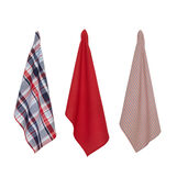 Set of 3 tea cloths in 100% cotton with check motif