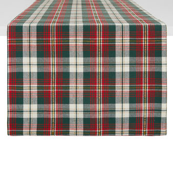 Table runner in pure cotton tartan and lurex