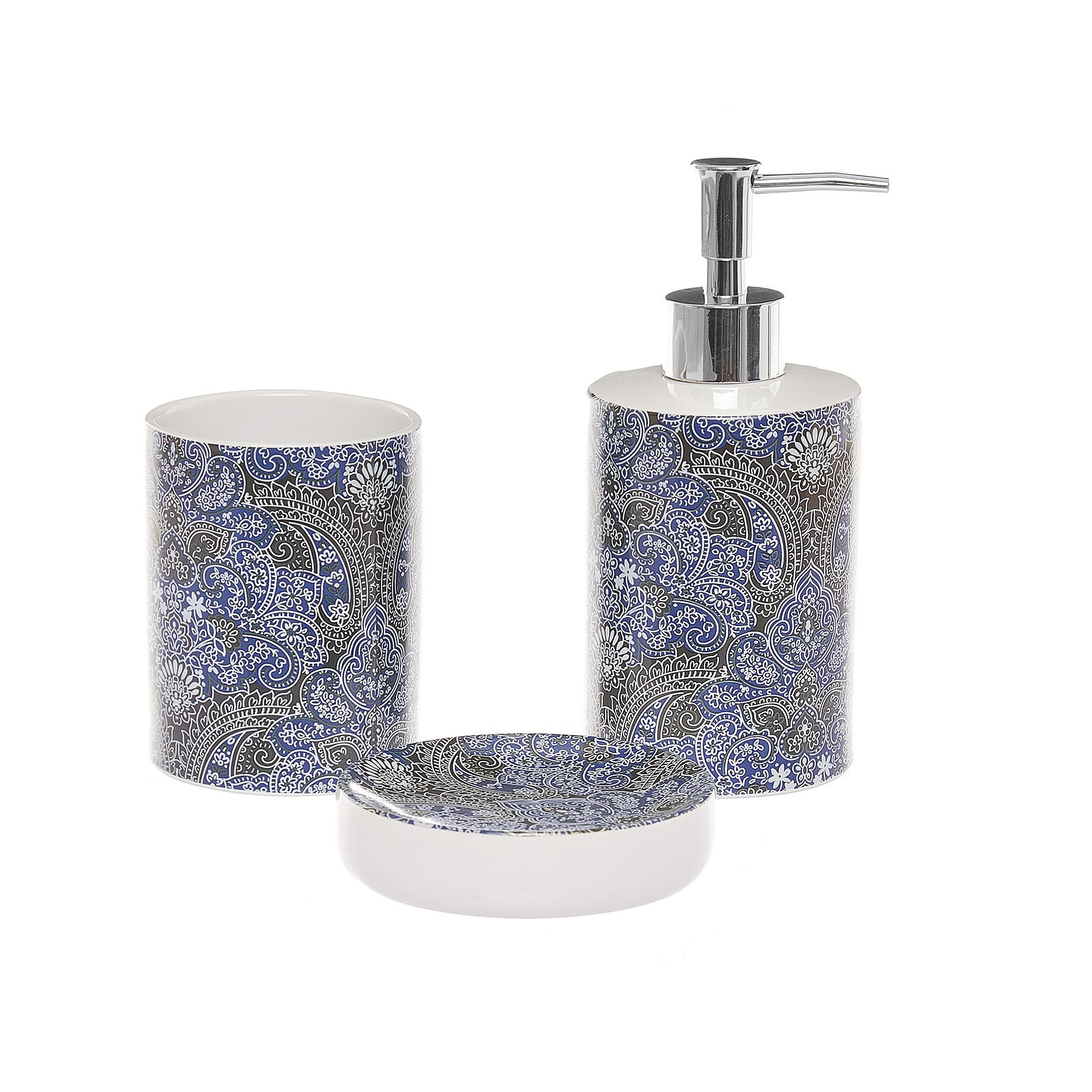 Accessori Bagno In Ceramica Decorata.Set 3 Accessori Bagno Ceramica Decorata Coincasa